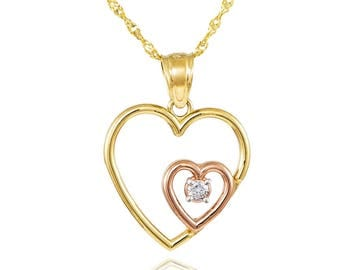14K Two Tone Gold Double Heart Cubic Zirconia (CZ) Necklace