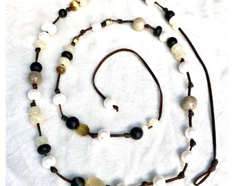Freshwater Pearl, Leather and Bohemian Treasure Necklace