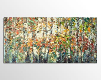 Oil Painting Landscape, Large Painting, Canvas Art, Autumn Tree Painting, Canvas Oil Painting, Custom Abstract Art, Large Art, Wall Art