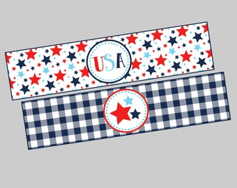 4th of July Water Bottle Labels. Printable Water Bottle Labels for 4th of July Party. Stars, USA, Red White & Blue Water Bottle Labels.