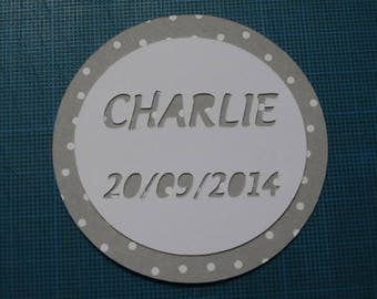 Round magnet - theme magnet round name and date