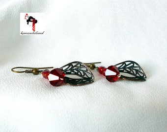 Gothic Red Crystal Earrings