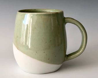 Handmade stoneware pottery coffee cup tea cup apple green and white modern Haight Pottery Company