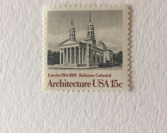10 vintage 15c US postage stamps - Architecture Baltimore Cathedral 1979 - neutral Black and white gray scale - unused
