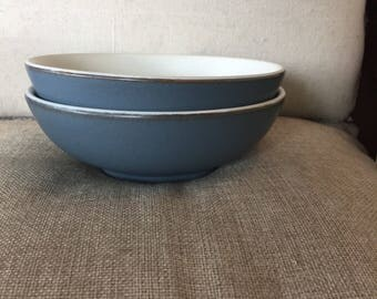 Vintage Denby Blue Echo cereal bowl - Made in England - Mid Century modern - Stoneware pottery - vegetable