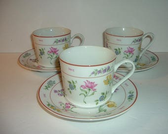 3 Vintage Georges Briard Floral Fantasy Cups and 3 Saucers