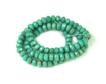Turquoise Green opaque w/ light Golden picasso smaller 3 x 5mm rondelles. Set of 30 or 60.