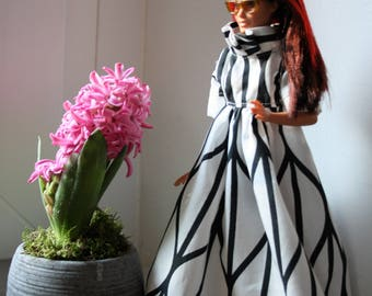 barbie dress, doll dress, 11.5 inch doll dress, white and black doll dress, handmade doll clothes,