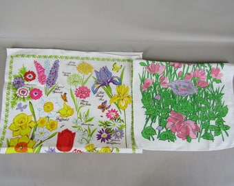2 linen dish towels featuring flowers