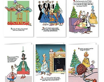 Funny Christmas Card Variety Pack - 12 Christmas Cards & Envelopes (6 Designs, 2 Cards Per Design) - 96