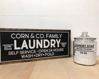 Laundry Room Sign, Laundry Sign, Family Name Sign, Farmhouse Sign, Fixer Upper, Farmhouse Decor, Custom Wood Sign, Personalized Sign