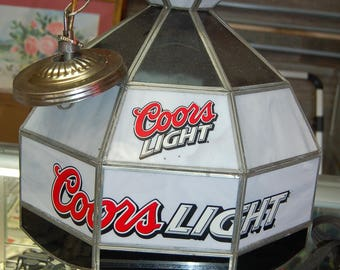 Vintage pool table light etsy vintage coors light man cave hanging bar pool table light leaded glass greentooth Gallery