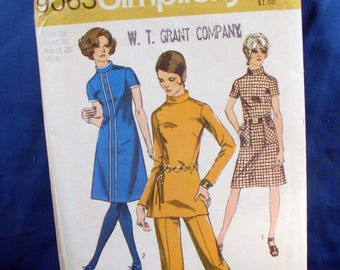 Vintage Simplicity Pattern 9063 Misses Dress or Tunic and Pants 1970