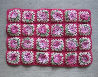 1/12th Scale Crocheted Dolls' House Throw / Blanket / Afghan - Pink Flowers