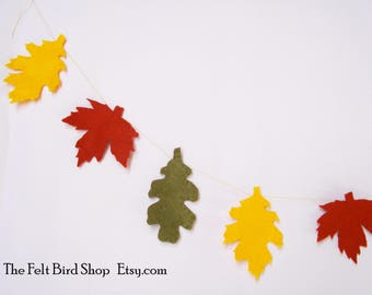 Autumn decor. Autumn garland. Leaves garland. Thanksgiving garland. Home garland. Wall garland. Woodland garland. Felt leaves garland.