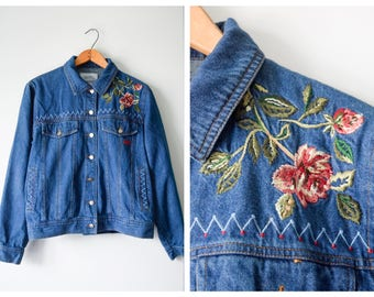 90s embroidered jacket jacket | Fits many