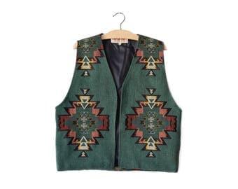 70s southwestern woven vest | men's M