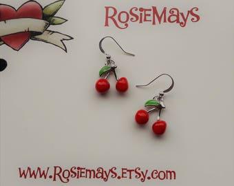 Cherry Earrings,Rockabilly Earrings,Pin Up Style,Kitsch Earrings,Novelty Jewelry,Fruit Accessories,Red Cherry Drops,Rockabilly Jewelry
