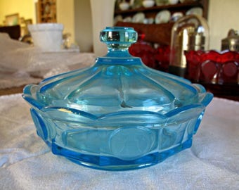 Fostoria Coin Glass Blue Low Candy Box- vintage