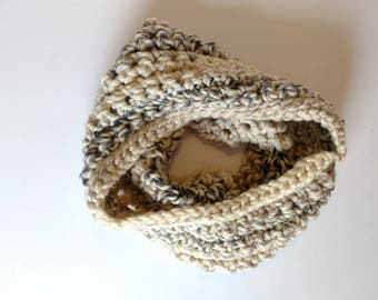 Scarf, oatmeal cowl, beige hooded scarf, winter fashion, women's wrap, accessories for her, holiday gift