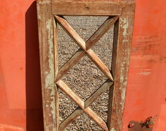Antique Indian Wooden Window Shutter Mirror, from Rajasthan.