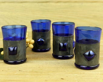 Handmade Cobalt Glass and Metal Shot Glasses, Barware, One of A Kind, Vintage Metal Shot Glass, Liquor, Bar Glasses, Boho, Rustic 17-18