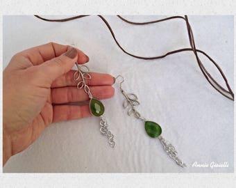 Celtic earrings-Pendants with agate-green agate drop earrings-leaves earrings-Bijoux-Jewelry-Jewelry-Handmade