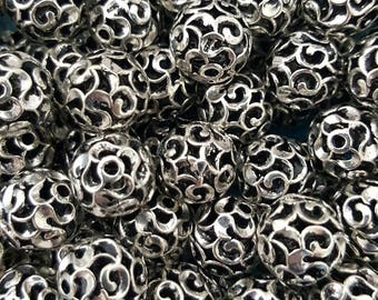 Antique Sterling Silver  11mm Round Hollow Beads - Select 1, 2 or 4 Beads