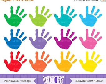 SALE 40%OFF 12 Handprint Clipart Set, Kids Handprint Images, Kids Hands, Hand Prints Children, Handprint Clip Art by VectoryClipart