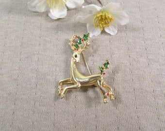CHRISTMAS REINDEER! Beautiful Vintage Gold Tone Enamel Reindeer Brooch  DL#3262