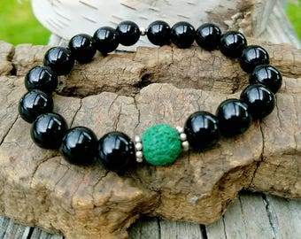 NEW-Bracelet-Stretchy-One Size Fits Most-OOAK-Diffuser Jewelry-Stack-Black Onyx-Sterling Silver-Handcrafted-Handmade-Lava Stone-Black-Green