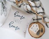 Home Sweet Home Farmhouse Pillow Cover | Script Pillow Cover | Home Sweet Home Farmhouse Throw Pillow | Cottage Decor
