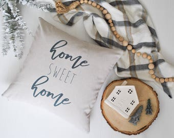 Home Sweet Home Farmhouse Pillow Cover | Script Pillow Cover | Home Sweet Home Farmhouse Throw Pillow | Cottage Decor