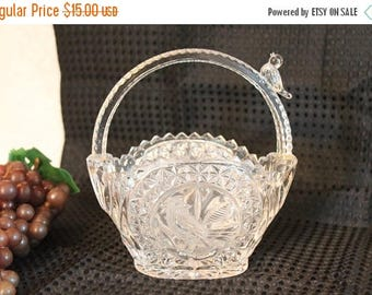 SALE Vintage 1985 Hofbauer The Byrdes Collection Lead Crystal Basket with Birds - Made in Germany