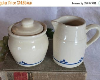 SALE Friendship Pottery Creamer and Sugar Set - Cream with Blue Accents, Roseville, Ohio FP