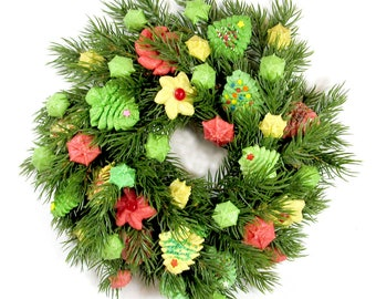 10 Inch Christmas wreath/centerpiece.  Artificial wreath with handmade, durable, salt-dough cookies in traditional green, pink, & natural.