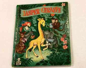Vintage Jasper Giraffe, by Polly Ferrell, Illustrated by Louise W Myers, 1949, Tell a Tale Books, Whitman Publishing, Mid century Child Book