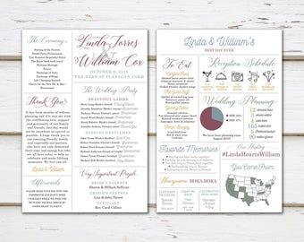 Printable Fun Infographic Wedding Program, Unique Wedding Program, Fun Program, Modern Program, Entertaining, Fun Facts, Hashtag, MB246