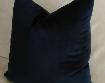 Navy Blue Velvet Euro Sham Pillow Cover Knife Edge or Piping 24x24 26x26