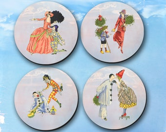 Coasters - Circus or Life, Imaginary or Real coasters, Drink Coasters, Vintage, Ladies, Clowns  (0003)