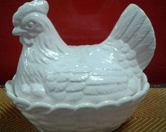 Vintage Basket Weave Covered Hen On Nest Dish/Marked Japan