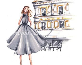 Paris illustration, Fashion illustration, City chic print, Paris art, Fashion sketch, Fashion print, Paris print,  Fashion wall art