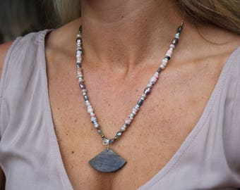 Pink Opal, Labradorite and Chocolate Moonstone Statement Necklace
