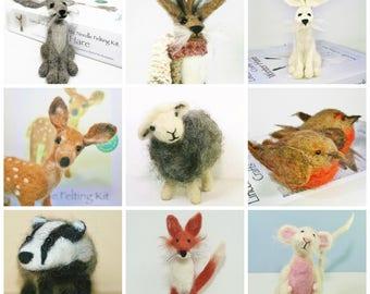 Needle Felting Kit x 2 Animal felting kits Beginner felting kit Handmade gift Woodland animals