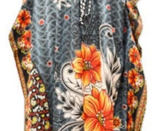 Plus Size Paisley Floral Summer/Festival Print Drawstring Batwing Sleeve Kaftan Grey