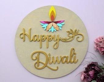 Happy Diwali Wall Sign, Deepavali Decor, Diwali Signs, Diwali Diya Decor, Hindu Festival of Lights, Diwali Gifts, Indian Celebration Decor