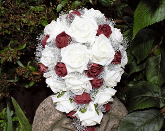 Artificial  Ivory, Burgandy, and Silver Bridal Cascade Bouquet. wedding flowers, Burgandy and white roses, silver gypsohilia and diamante