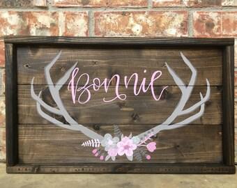 Customizable Deer Antler Woodlands Nursery Wall Art, Hand Painted