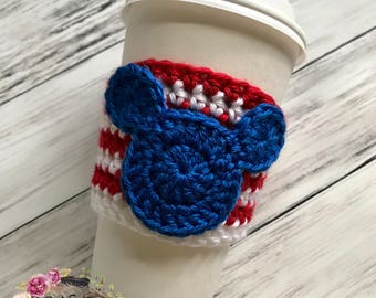 "The ""Patriotic Mickey"" Cozie / Cozies / Coffee Cozie / Tea Cozie / Tumbler Cozie / Crochet Cozie"