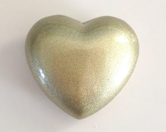 Painted light gold metal heart harmony ball